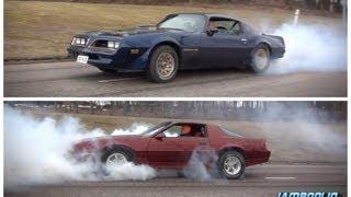 BURNOUT CONTEST! Pontiac Trans Am 6.6 vs Chevrolet Camaro RS 5.0