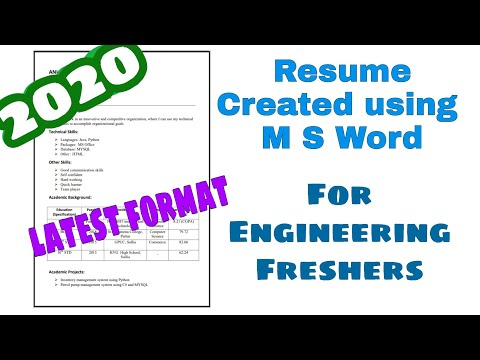 Resume For Engineering Freshers Using MS Word. Perfect Resume Format For BE, Btech Graduates