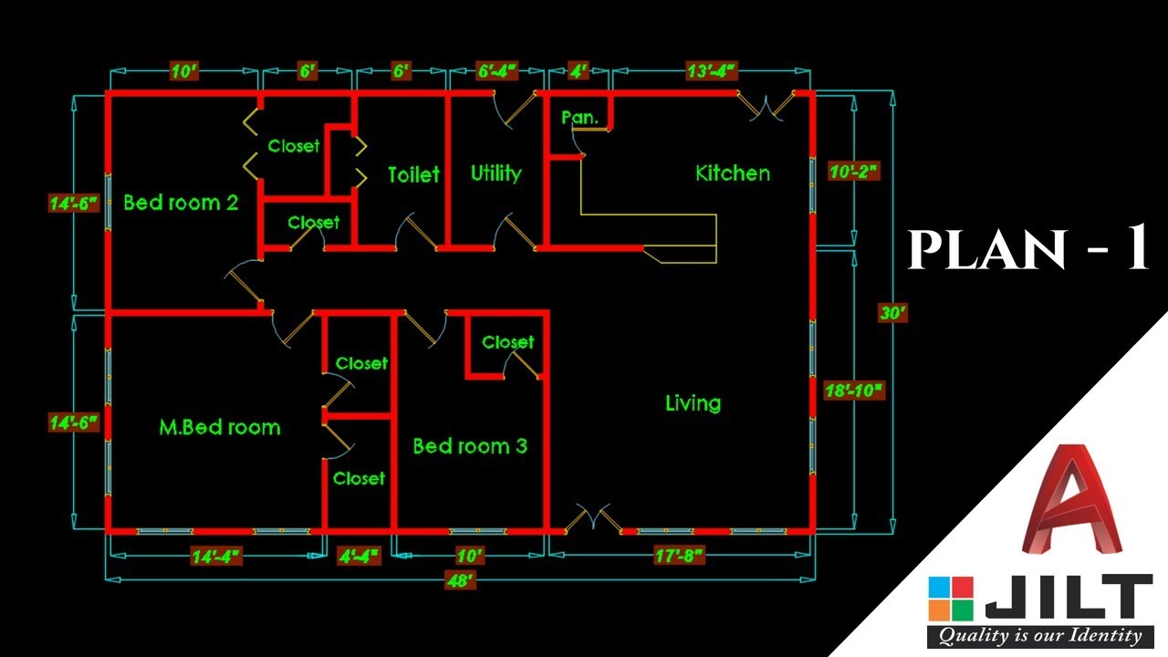 Making A Simple Floor Plan 1 In Autocad 2018 Youtube