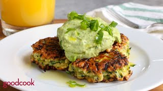 Zucchini Fritters with Avocado Crema from Hip Foodie Mom