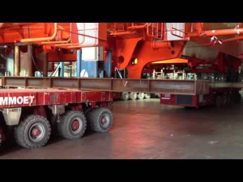 Heavy Transport of Emas Pipelay tower at Huisman Equipment