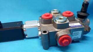 Galtech Q75 2 Sections Directional Control Valve 90 l/min 24 GPM Electric solenoid 12V + levers video