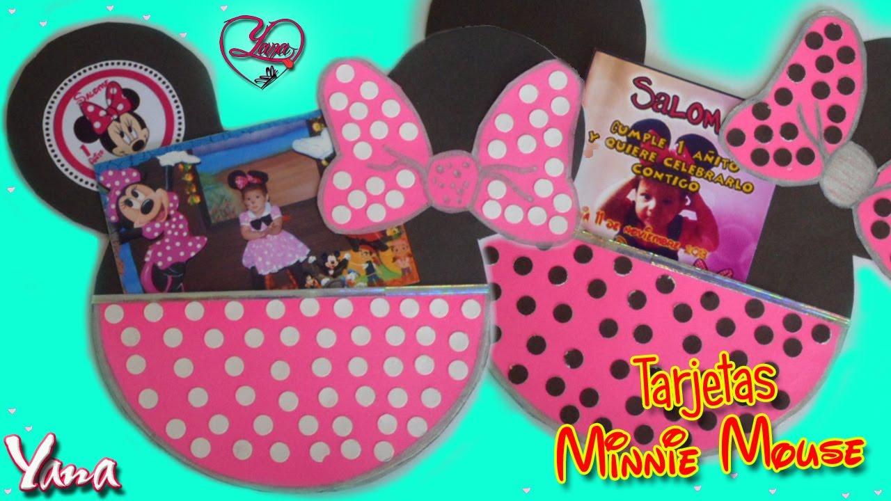 Tarjetas De Invitación Fiesta De Minnie Mouse 1 Año Yanacol