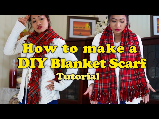 Blanket Scarf DIY Tutorial NO SEW Scarf | How To Make A Blanket Scarf NO SEW | DIY Blanket Scarf