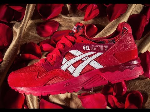 tênis asics gel-lyte v red/white - romance pack