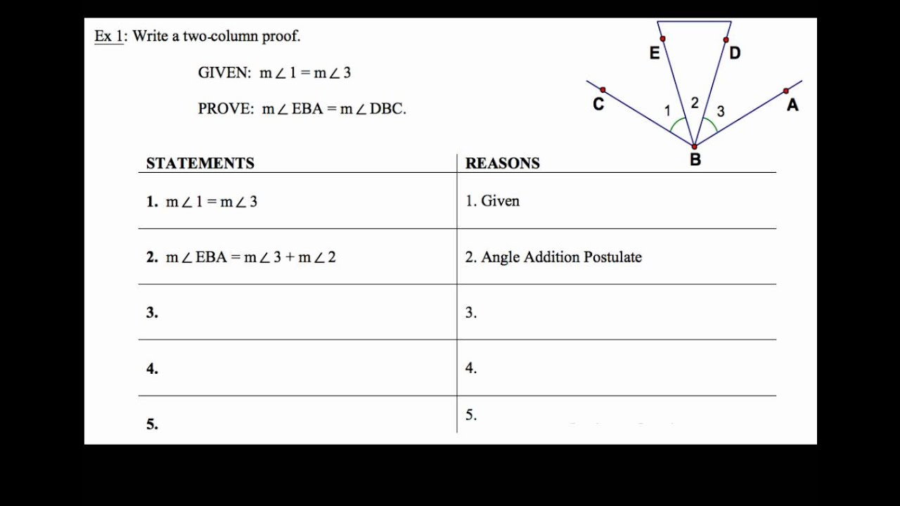 2 6 Segment And Angle Proofs Ex 1 Youtube