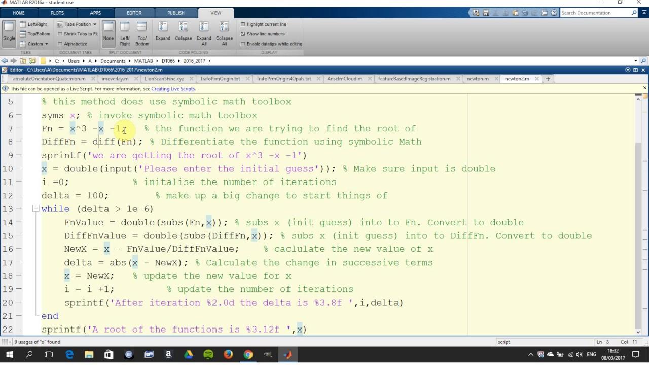 Solution of Newton Raphson method in Matlab using symbolic Math toolbox