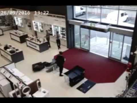Clumsy customer busts $6,000 worth of TVs at British store