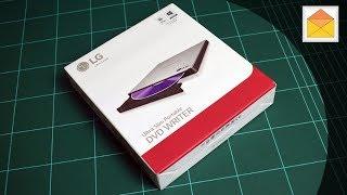 DVD Writer USB LG GP57ES40 Slim Super Multi 8X Dual Layer Retail Silver Unpacking