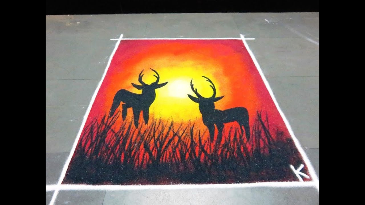 how to make beautiful deer poster rangoli design - YouTube for poster rangoli designs for diwali  117dqh