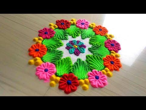 How to make rangoli designs/easy & simple unique rangoli for gudi padwa & ugadi by jyoti