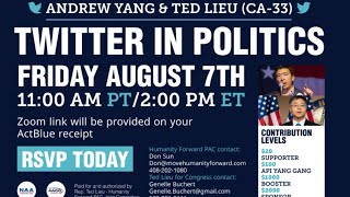 Andrew Yang and Congressman Ted Lieu: How to get 1M+ followers on Twitter? Should we ban Tiktok?