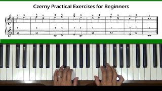 Czerny Practical Exercises for Beginners Op. 599, No. 1 Piano Tutorial