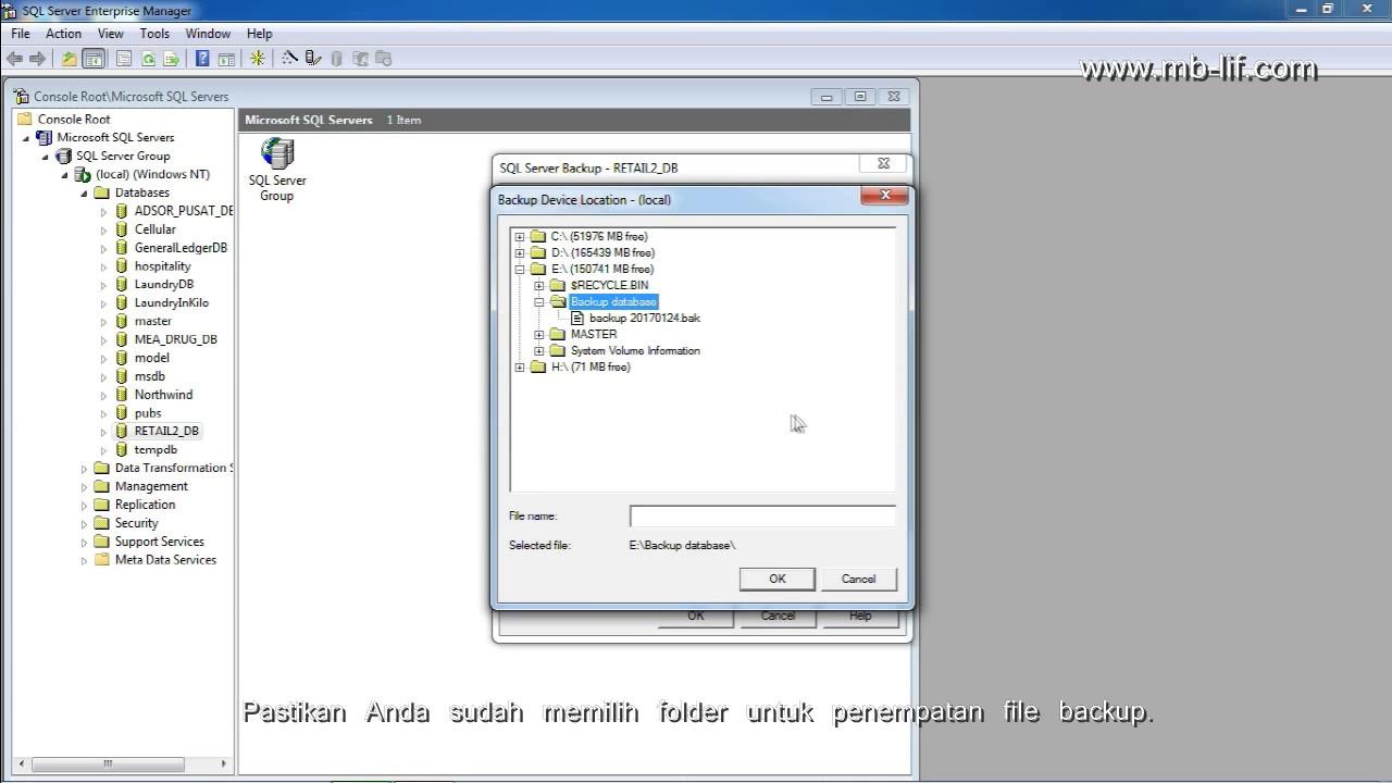 Backup SQL Server 2000 dengan Enterprise Manager