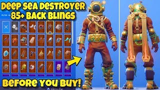 "NEW ""DEEP SEA DESTROYER"" SKIN Showcased With 85+ BACK BLINGS! Fortnite Battle Royale NEW SKIN COMBOS"