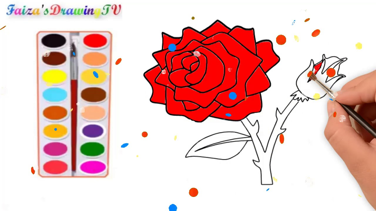 Roses coloring pages   FAIZA_DRAWINGTV - YouTube