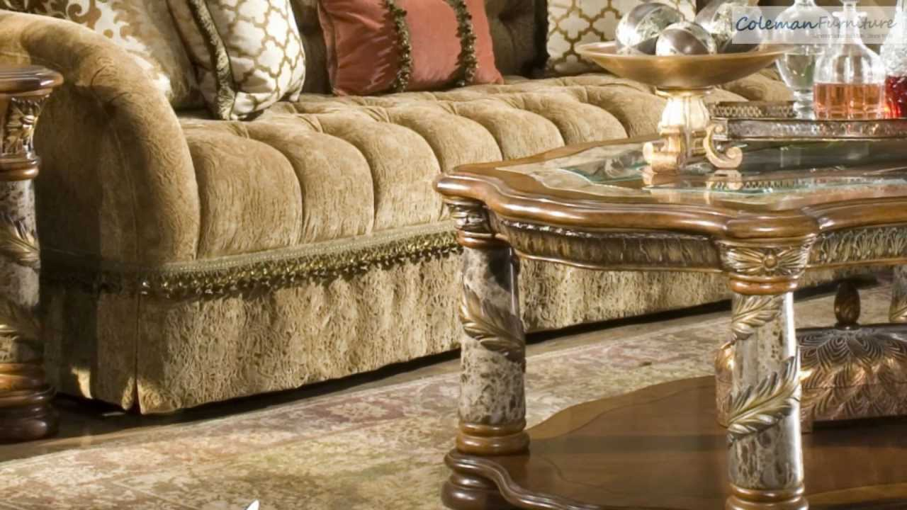 villa valencia living room collection from aico furniture youtube. Black Bedroom Furniture Sets. Home Design Ideas