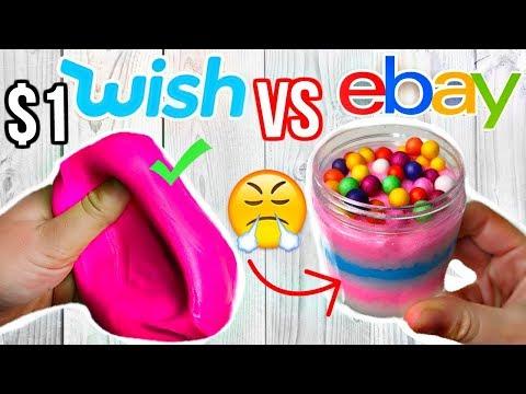 $1 Wish Slime VS $1 Ebay Slime Review! (ummm...)
