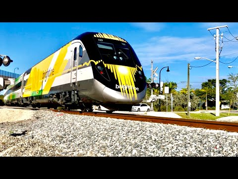 Fast Brightline Trains In Deerfield Beach Florida!