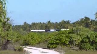 Air Kiribati taking off from Abemama Island