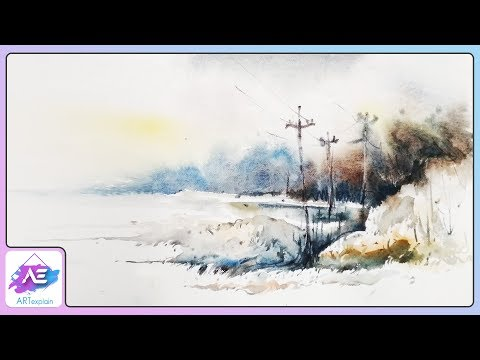 Village Side Watercolor Landscape Painting | How to paint a watercolor landscape | Art Explain