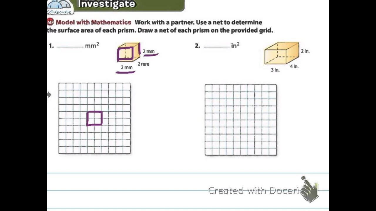 rectangular prism net with grid
