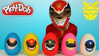 Power Rangers Megaforce Play-Doh Surprise Eggs Opening Fun With Red Ranger Ckn Toys