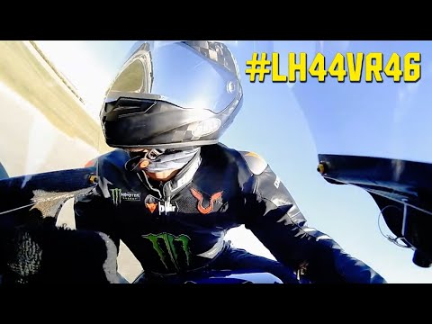 Lewis Hamilton MotoGP Onboard - Riding Valentino Rossi's Yamaha YZR-M1