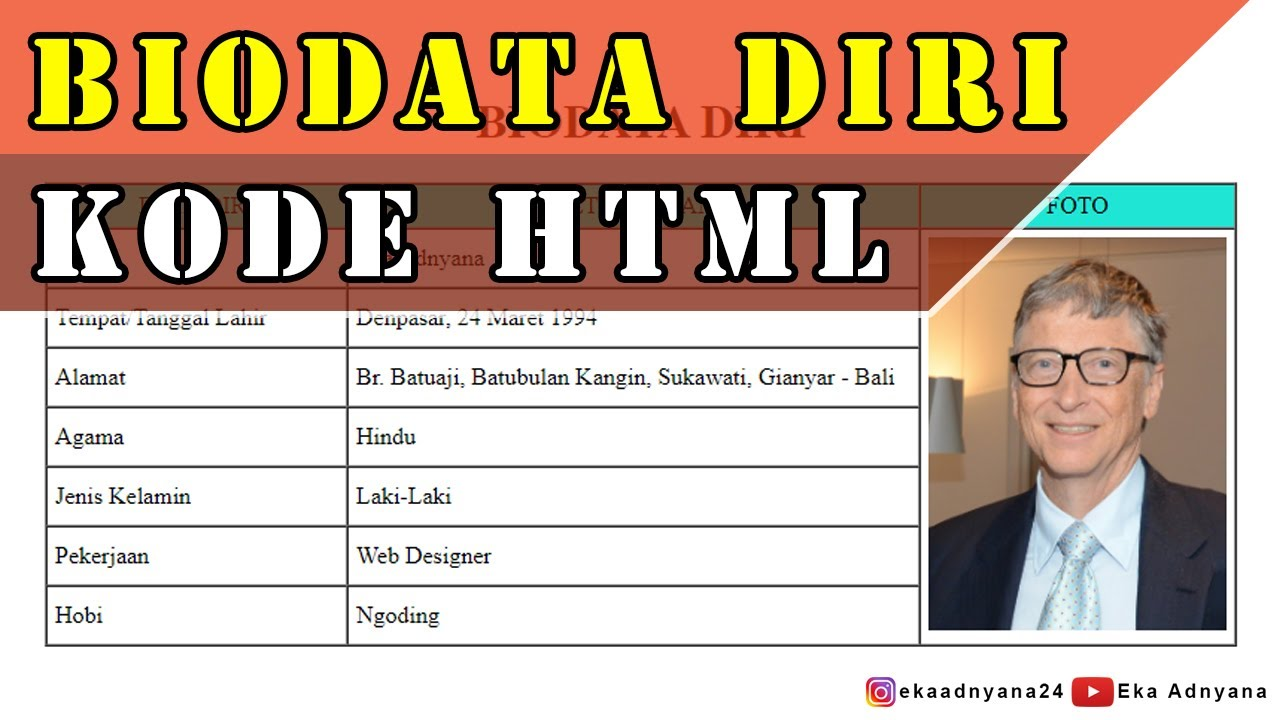 Cara Membuat Tabel Biodata Diri dengan HTML - YouTube