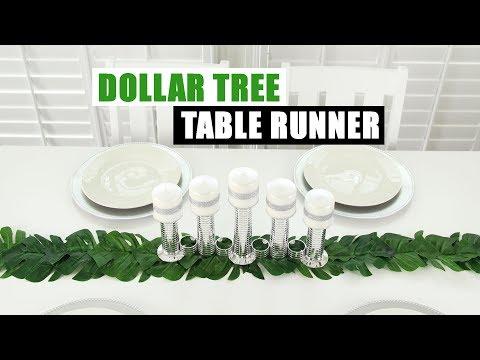 DIY DOLLAR TREE TABLE RUNNER Palm Leaf DIY Home Decor Idea