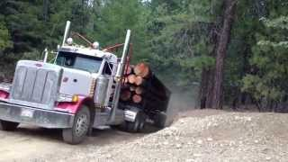 Two log trucks coming over a hill