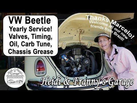 VW Beetle Yearly Service! ( Valves, Timing, Oil change, Carb Tune, Gear oil change,Chassis Grease)