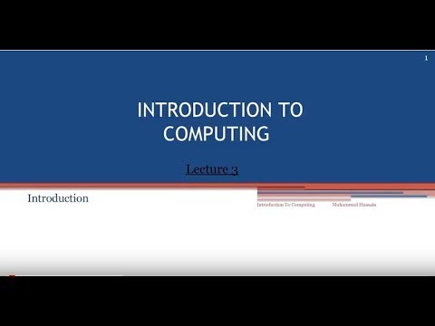 introduction to computer lectures  no  3