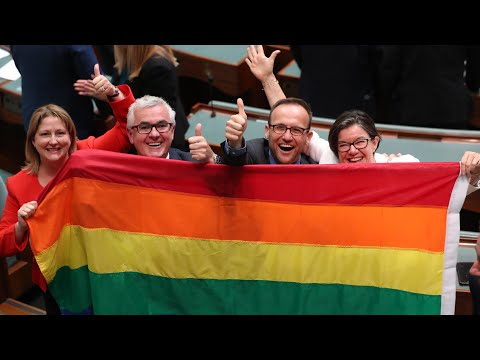 Singing breaks out in Australian parliament as marriage equality law is passed