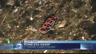 Homeless encampments along H-1 Freeway, Nimitz Highway to be cleared Tuesday
