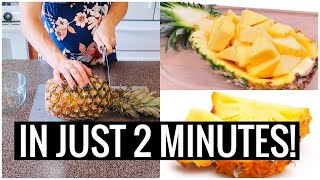 How to CUT a PINEĄPPLE Without Waste & KNOW WHEN IT IS RIPE!! (So Delicious) | Andrea Jean Cleaning