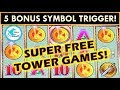 5 SYMBOL SUPER FREE GAMES w/RETRIGGER! WONDER 4 TOWER POMPEII SLOT MACHINE BIG WIN