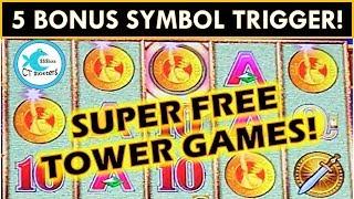 5 SYMBOL SUPER FREE GAMES w/RETRIGGER! WONDER 4 TOWER POMPEII SLOT MACHINE BIG WIN