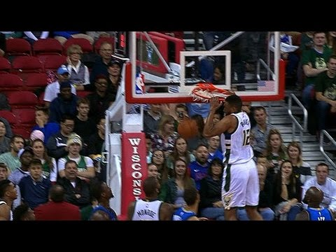07634be1f08 Jabari Parker Slam Dunk  Hits Head on the Rim! - YouTube
