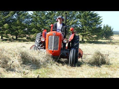 Massey Ferguson 35X Turning Hay w/ JF HSR 200R Haybuster | Danish Agriculture