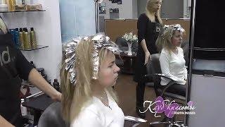 Мелирование волос Блондинка Блонд тонирование волос