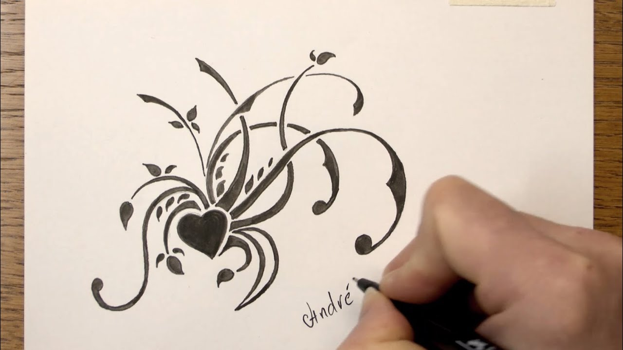 How To Draw A Simple Floral Tribal Design With Markers