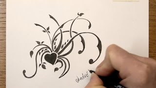 How to draw a simple Floral Tribal Design with Markers - Time Lapse