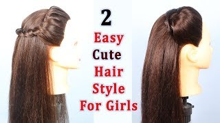 Easy Cute Hairstyle For Girls    2 Beautiful hairstyle\Simple Hairstyle\Hairstyle girl