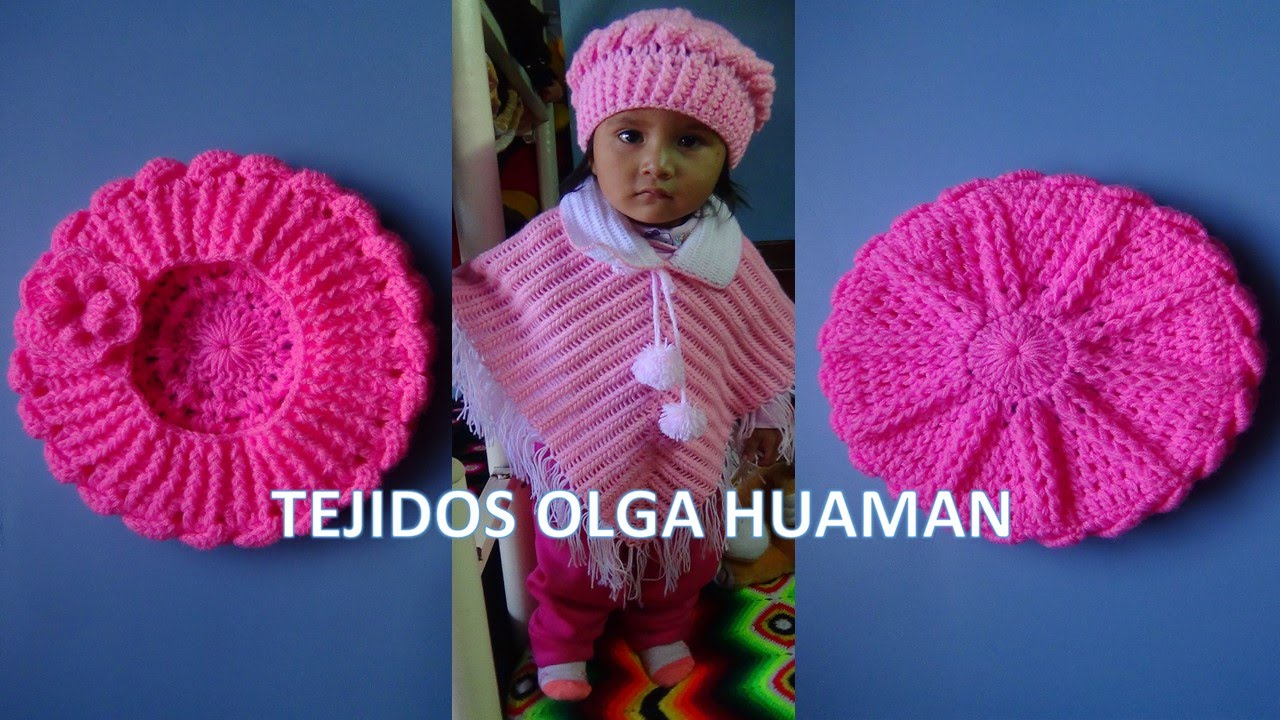 Boina tejido a crochet para bebe o niña en punto OLITAS y RELIEVES video 1  - YouTube b4993888d89