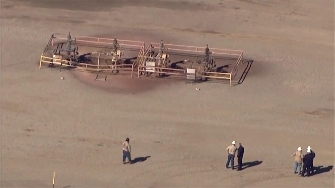 Raw video of aerials over oil field explosion near Quinton, Oklahoma