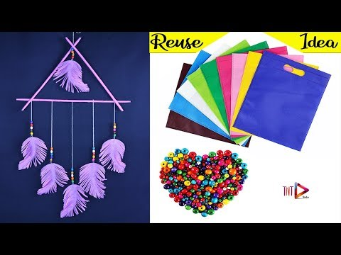 DIY Feather Wall Hanging Using Shopping Bag | Waste Material Home Decoration Crafts