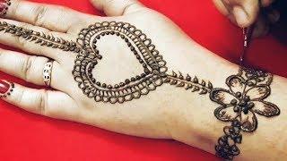 Simple heart shape mehendi design for beginners, easy mehndi design, ...