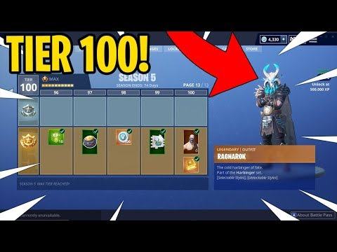FORTNITE SEASON 5 MAX TIER 100 BATTLEPASS GAMEPLAY! BUYING ALL 100 TIERS LIVE!