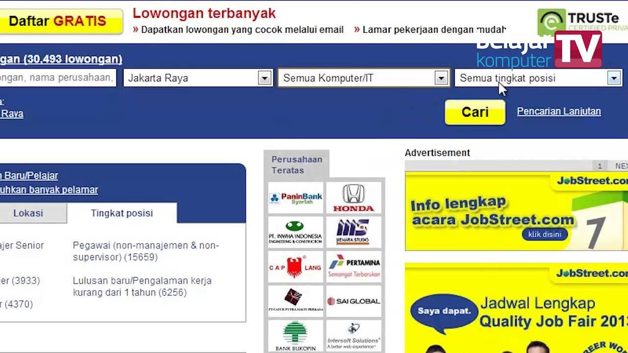 Mencari Lowongan Pekerjaan Melalui Jobstreet Com Youtube